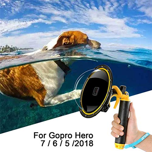 for GoPro Dome Hero Black 7 6 5 2018, Dome Port Lens Transparent Cover with Floating Handle Grip and Pistol Trigger for Diving, Underwater Waterproof 30M Action Camera Accessory Housing Case