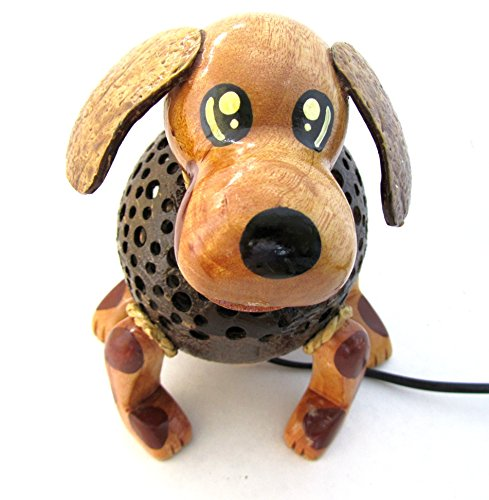 Animal Night Light for Kids Wood Coconut Shell Lamp for Bedroom from Thailand (Puppy Dog)