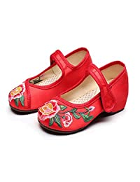 Tianrui Crown Girl's Embroidery Flat Ballet Cloth shoes Kid's Mary-Jane Dance Shoe Sandal