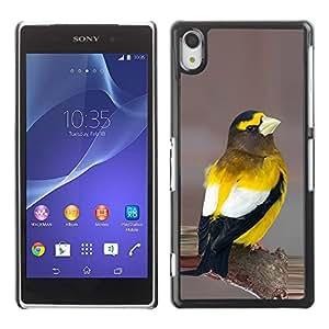 PC/Aluminum Funda Carcasa protectora para Sony Xperia Z2 D6502 D6503 D6543 L50t L50u yellow songbird beautiful nature feathers / JUSTGO PHONE PROTECTOR