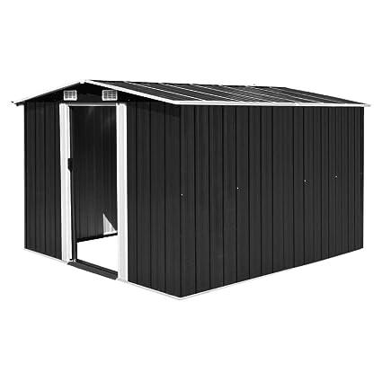 Festnight Caseta de Jardín de Metal para Almacenamiento de Herramientas con 4 Ventilaciones Antracita 257x298x178 cm