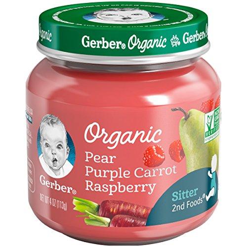 Gerber Purees Organic 2nd Foods Pear Purple Carrot Raspberry Baby Food Glass Jar, 4 oz