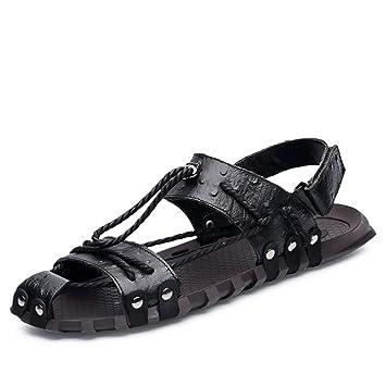 Zapatillas De Cuero De Imitación para Hombre Spring Summer Comfort Sandalias Antideslizantes Resistentes A La Abrasión,Black,38: Amazon.es: Hogar