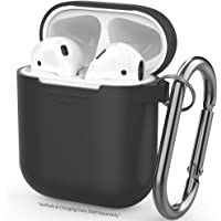 AhaStyle AirPods Case Cover Silicone Skin with Keychain for Apple AirPods(Black)