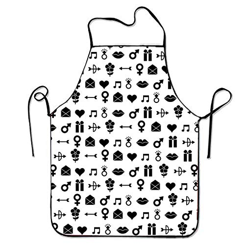 (Judaho Lip Envelope Sweetheart Chef Kitchen Apron Server Stitched Edges)