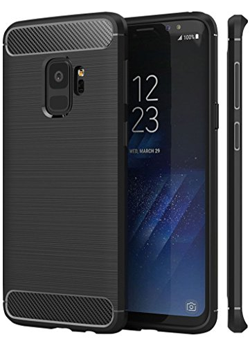 for Samsung Galaxy S9 Case (NOT Plus), Marval.P Rugged Armor Skin Fit Case, Ultra Slim Brushed Air Bumper Soft TPU Protective Defender Shell Holder Cover, Flexible and Durable Shock Absorption ()