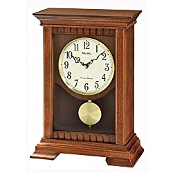 Seiko Analogue QXQ029B Table Clock Pendulum Brown