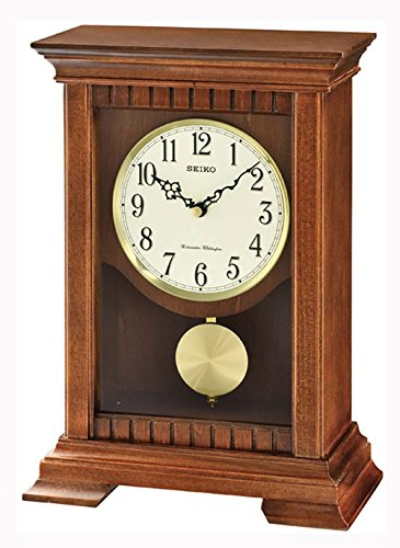 Seiko Analogue QXQ029B Table Clock Pendulum Brown
