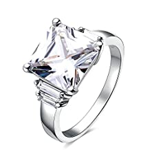 Onefeart White Gold Plated Ring for Girl Women Wedding Band White Cubic Zirconia 1.5x1.1CM US Size 6-8