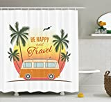 Surf Decor Shower Curtain Set By Ambesonne, Retro Surf Van With Palms Camping Relax Hippie Travel Be Happy Free Sixties Theme, Bathroom Accessories, 69W X 70L Inches, Orange Green Yellow