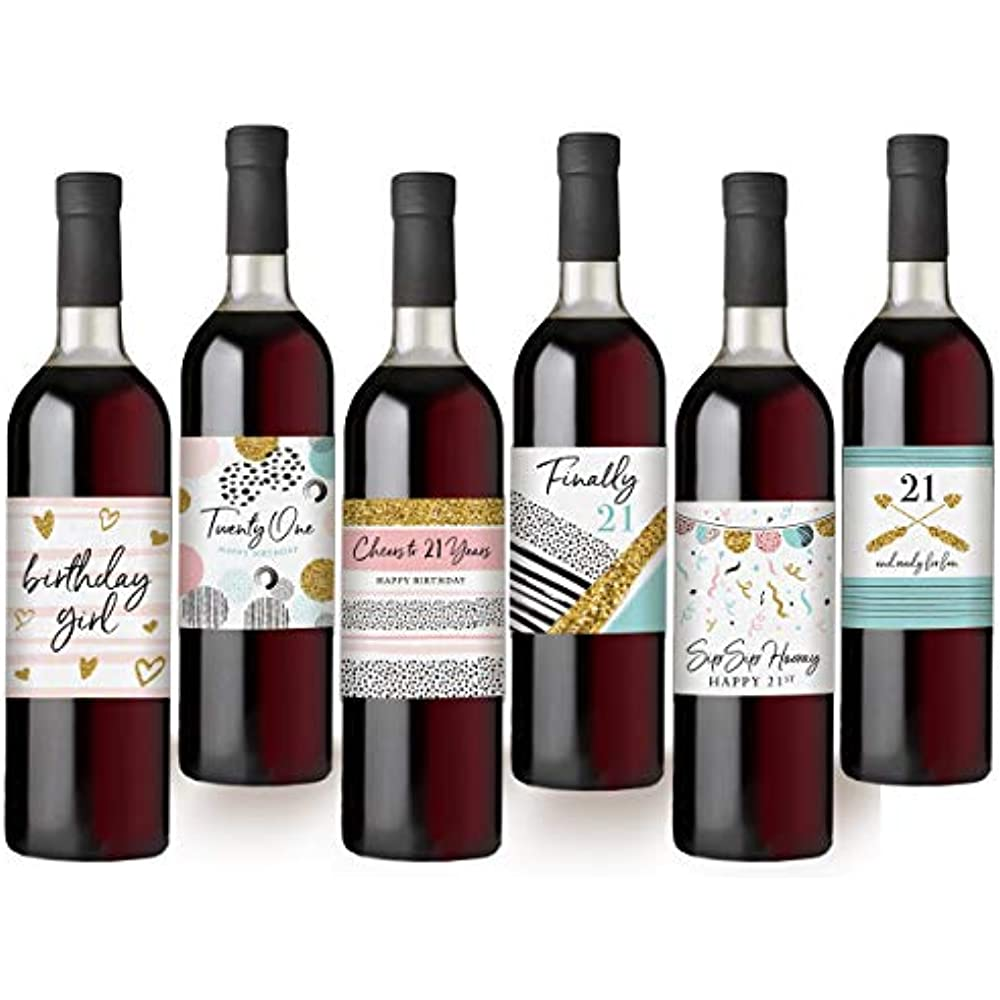 21st Birthday Wine Bottle Labels, Set Of 6 Waterproof