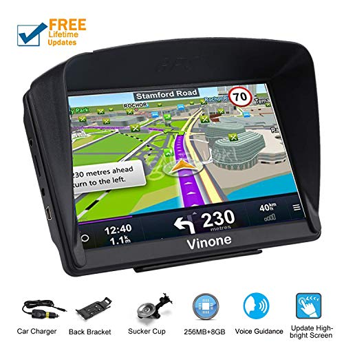 Car GPS Navigation,Vinone GPS Navigation System with Built-in Lifetime Maps,FM Car Navigation and Spoken Turn-by-Turn Directions (Best Built In Car Sat Nav)