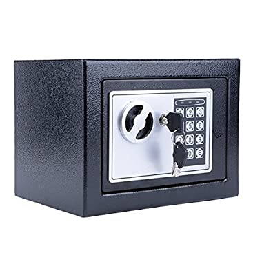Garain Fireproof Digital Safe Box with Key for Safe Cash Jewelry Or Document Securely (Black)