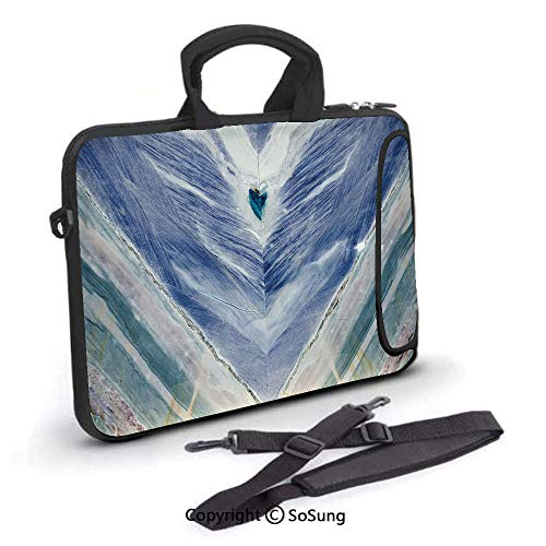 17 inch Laptop Case,Onyx Stone Tribal Style with Color Elements Agate Authentic Pattern Decorative Neoprene Laptop Shoulder Bag Sleeve Case with Handle and Carrying & External Side Pocket,for Netbook/ ()