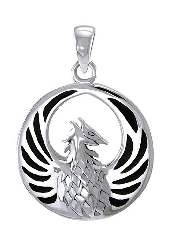 Sterling Silver Phoenix Pendant with Faux Black Onyx Inlay