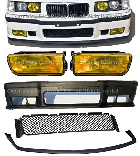 Compatible with 1992-1998 BMW E36 3-Series M3 Style Front Bumper Cover + Lip + Yellow Fog Lights 1992 1993 1994 1995 1996 1997 1998 - Bmw E36 325is Coupe