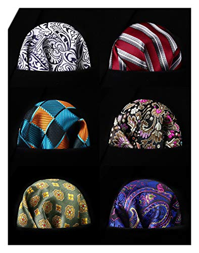 HISDERN 6 Piece Assorted Colors Woven Mens Pocket Square Handkerchief Wedding Party Gift
