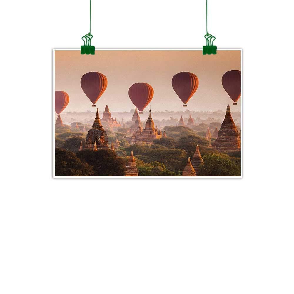 "Unpremoon Asian Modern Art Hot Air Balloon Over Plain of Bagan Misty Morning Myanmar Famous Heritage Wall Art Kitchen Peach Orange Cinnamon W 47"" x L 32"""