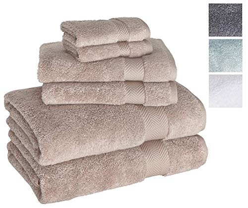 Luxury 6-Piece Hotel and Spa Towel Set - Soft and Thick Bath Towels with Unique Ribbed Design - Made with 100% Turkish Cotton ()