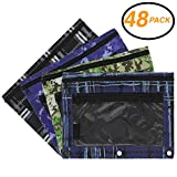 Emraw Legacy Style Double Pocket Zippered Pencil Pouches with 3-Ring Grommet Holes & Quick View Mesh Pocket – Set Include 4 Different Legacy Styles (48 Pack)