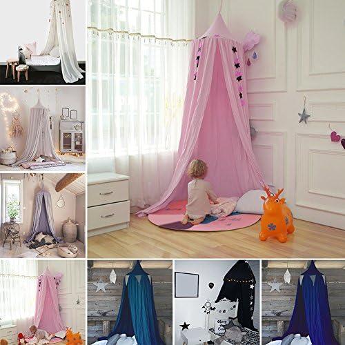 Luerme enfants Ciel de lit rond d/ôme Tente de jeu Decoration de Salle Moustiquaire