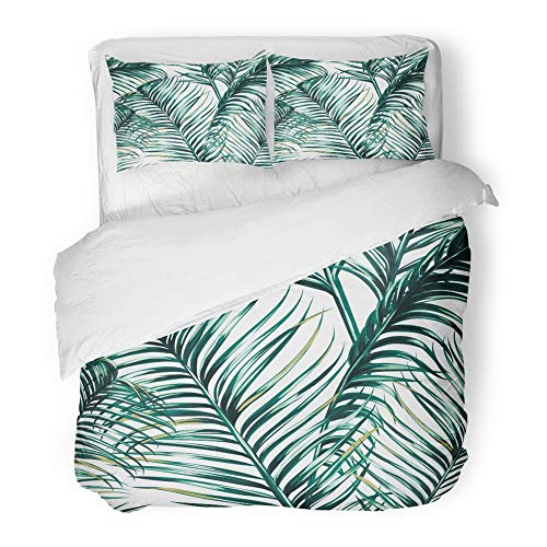 Emvency Bedding Duvet Cover Set Twin (1 Duvet Cover + 1 Pillowcase) Green Tropic Tropical Palm Leaves Floral Pattern Leaf Exotic Jungle Tree Hawaii Hotel Quality Wrinkle and Stain Resistant by Emvency