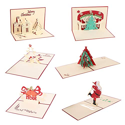 LINGJUN 6Pcs 3D Christmas Cards Holiday Xmas New Year Greeting Gifts Cards With Envelops