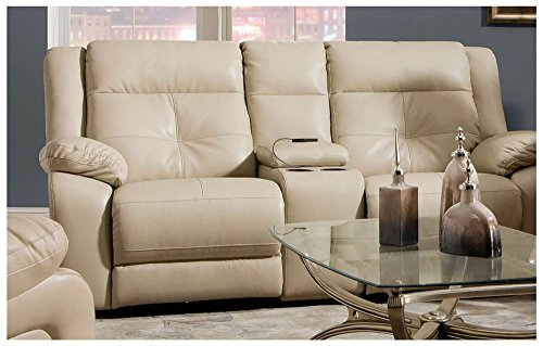 Simmons Upholstery Miracle Pearl Bonded Leather Double Motion Console Loveseat