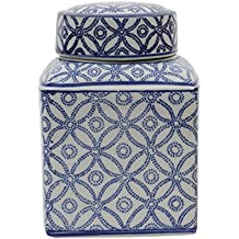 Medium Square Blue and White Ceramic Ginger Jar with Lid