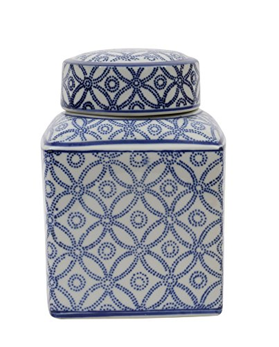 Medium Square Blue and White Ceramic Ginger Jar with Lid - Blue Ginger Jar