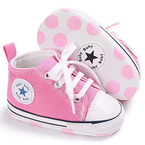 Baby Boys Girls Star High Top Sneaker Soft Anti-Slip Sole Newborn Infant First Walkers Canvas Denim Shoes (6-12 Months, HY-Baby-P) Pink ()