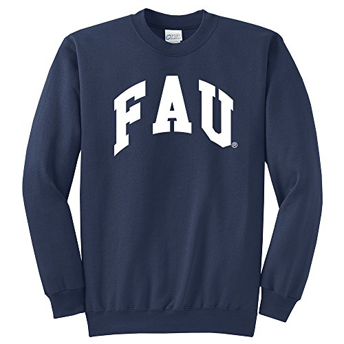Campus Merchandise NCAA Florida Atlantic University Arch Classic Crewneck Sweatshirt, Navy, Small ()