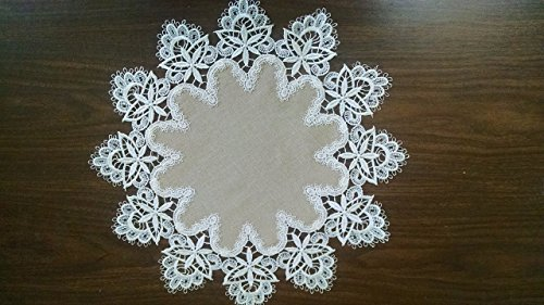 Round Doily or Placemat in Ivory Venetian Lace and Light Brown Burlap Linen Type Material, Size 16 - 16 Doily Light Inch