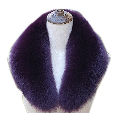 Gegefur 2018 Hot New Popular Genuine Real Fox Fur Collar Hoodie Fur Trimming Natural Fox Fur Hood Trim Scarf Big Fur Collar Custom Made (80cm, purple) ()