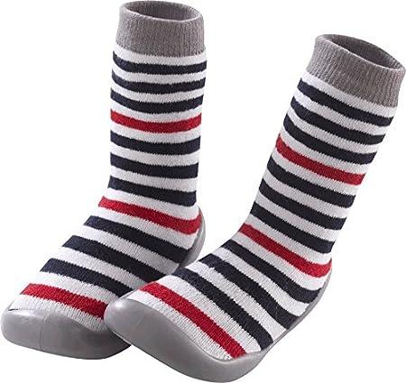 Tichoups Chaussons chaussettes Ray/é bleu et rouge