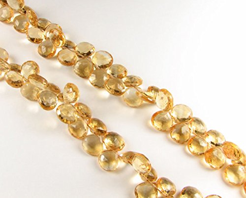 Natural Citrine Beads Faceted Heart Gemstone Briolettes Flat Teardrops 6mm to 7mm, Citrine Tear drops, Orange (6 gems beads) (Faceted Flat Teardrop Beads)