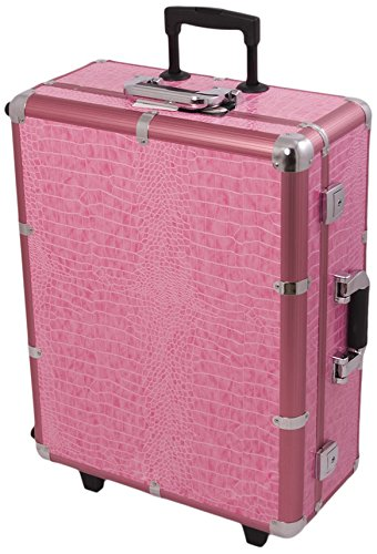 Craft Accents Professional Rolling Studio Makeup Case, Pink Crocodile, 672 Ounce by Craft Accents