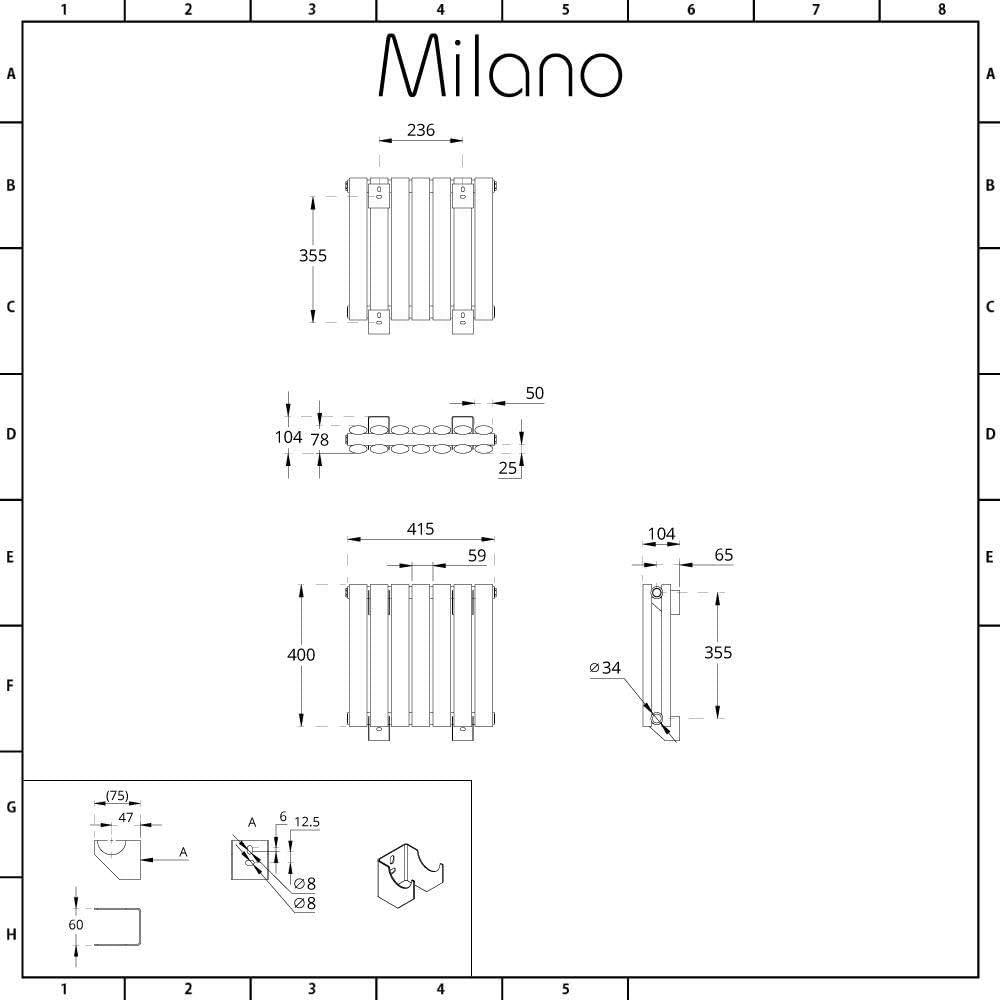 400 x 1180mm Double Anthracite Milano Aruba Horizontal Low Profile Oval Column Designer Radiator
