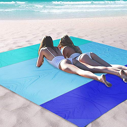 OCOOPA Sand Free Beach Blanket 10X 9ft Extra Large, Soft Pocket Picnic Blanket, Waterproof Outdoor Family Mat for Beach, Camping, Hiking, Music Festival, Machine Washable, Blue