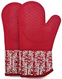 DETA HOME Professional Silicone Oven Mitts/Gloves - 1 Pair Non-Slip Texture Silicone Handle/Heat Resistant 500 Degrees for Microwave Pot Holders Grilling Kitchen Baking(Red)