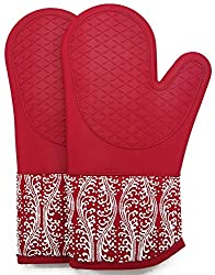 Professional Microwave Silicone Oven Mitts For One Pair Kitchen Lines Set For Heat Resistant With 500 Degrees Kitchen Gloves Pot Holder For Bbq Cooking Baking Red