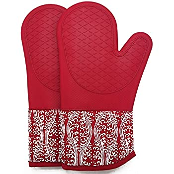 Professional Microwave Silicone Oven Mitts for one Pair, Kitchen Lines Set for Heat Resistant with 500 Degrees, Kitchen Gloves Pot Holder for BBQ Cooking Baking (Red)