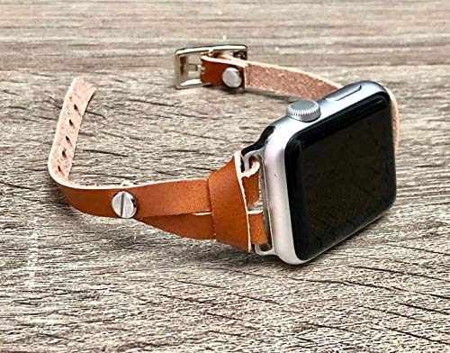 Light Brown Leather Band for Apple Watch Series 4 3 2 1 38mm 40mm 42mm 44mm Single Wrap Slim Strap iWatch Bracelet Women Fashion Wristband