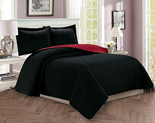Majestic King Sham - Celine Linen  Luxury 3-Piece Bedspread Coverlet Majestic Design Quilted Set with Shams - All Season Heavy Weight- Hypoallergenic- Wrinkle & Fade Resistant- King/California King, Black/Burgundy