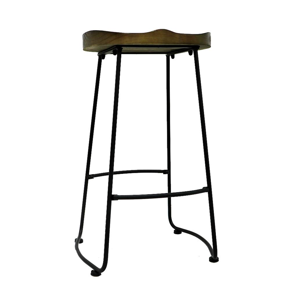 UNHO Bar Stools Set of 2 Rustic Vintage Retro Metal Leather Industrial Style Seating Cafe with High Back Sunken Seat for Breakfast Bar Stool Kitchen Counter