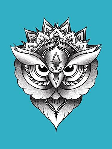 Unorthodox Borsa Tote Owl Mandala 38 x 42 cm in azzurro blu