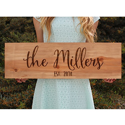Rustic Wood Engraved Sign Personalized with Last Name and Established -