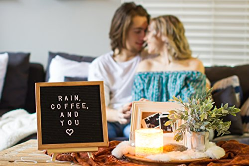 Letter Board Black Felt 10x10 inches 340 White Words Numbers & Symbols - Changeable Wooden Custom Message Sign Boards Oak Frame with Wood Easel Wall Mount Scissors Plastic Organizer & Canvas Bag Photo #5