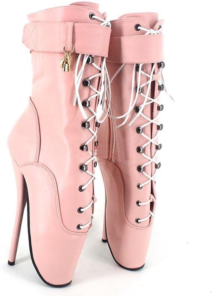 Botas Botines para Mujer Fetiche Zapatos con Tacon Alto para Mujer Plataforma Cremallera Hebilla Dorado Tacón de Aguja Alto Lock, Cosy-L