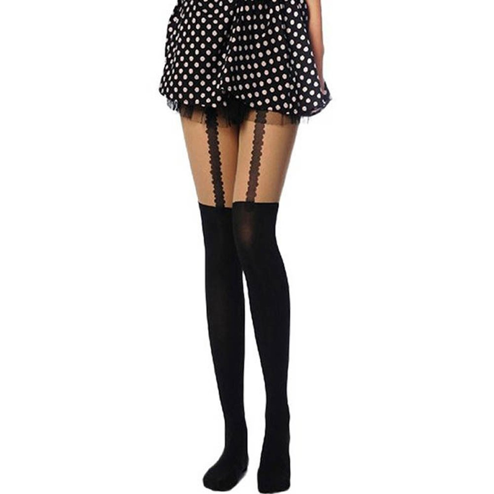 Song Qing Women Lace Harness Tattooed Thigh Top High Hosiery Stockings Tights Pantyhose